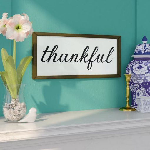 jensen rustic galvanized metal and wood frame thankful sign wall décor