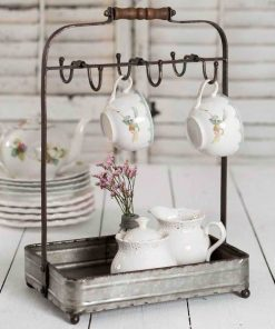 jolene rustic tabletop mug rack with tray