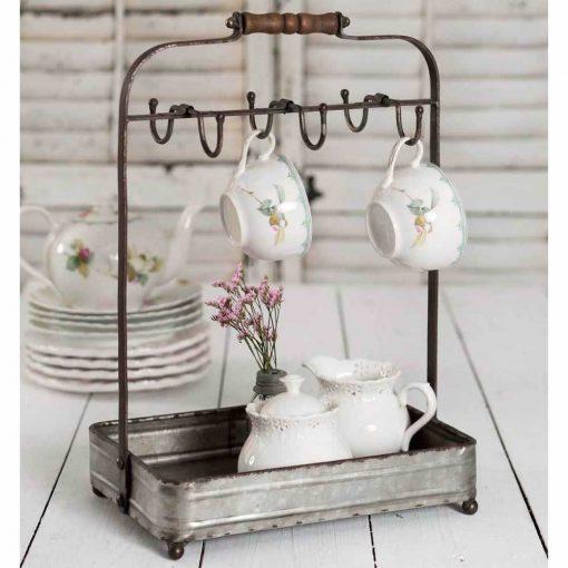 jolene rustic tabletop mug rack with tray