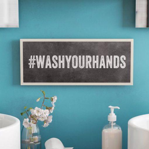 jones wash your hands hashtag bathroom wall plaque