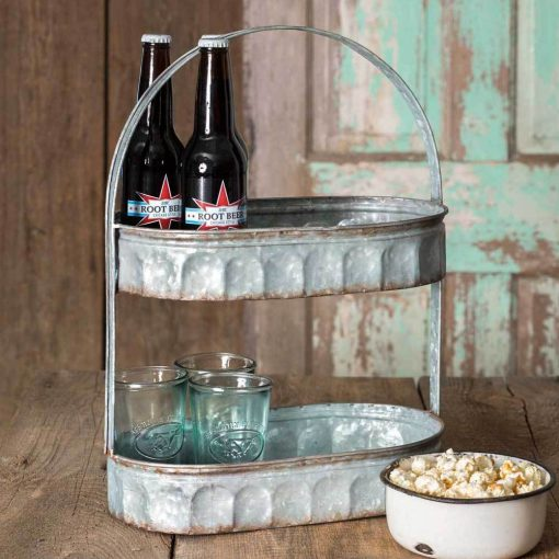 joni rustic two tiered corrugated oval tray