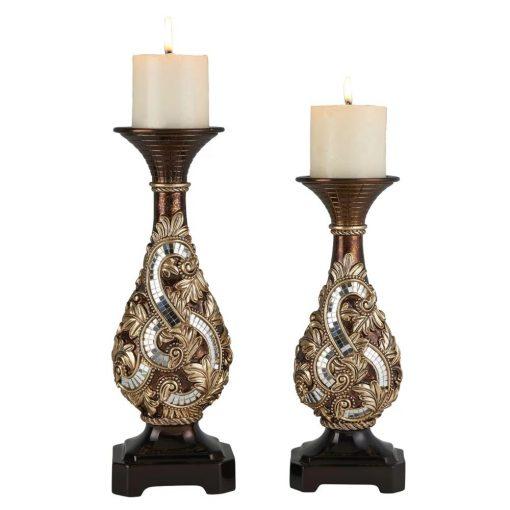 keaton 2 piece charming ceramic candlestick set