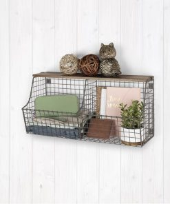 kellen metal vintage wall mount double storage bin