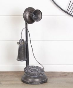 kelly distressing black metal telephone sculpture