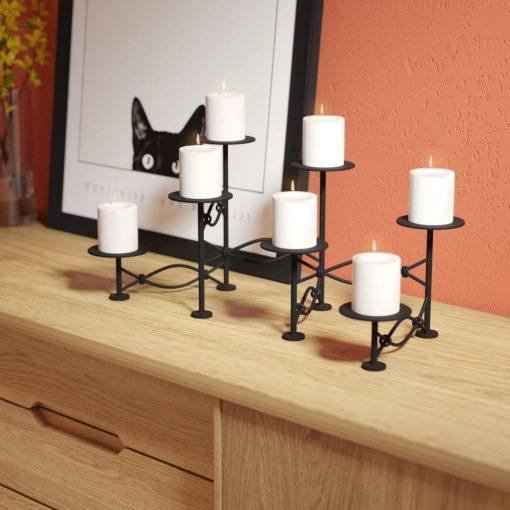 kiara black seven pillars metal candelabra
