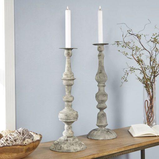kiera 2 piece metal candlestick holders set