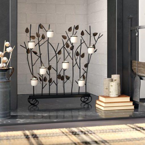 kimora dark brown leaf motif votive metal candelabra