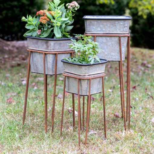 kinslee rustic square bins with stands set of