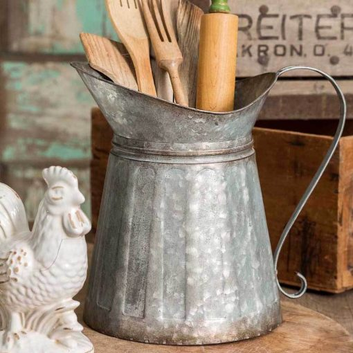 krissy galvanized metal milk pitcher