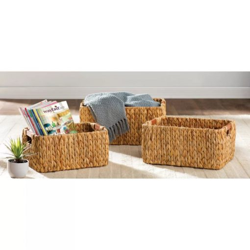 laguna 3 piece natural wicker basket set