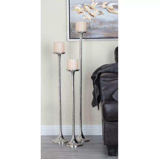 laila 3 piece thin and long aluminum candle holder set