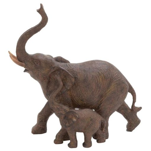 lainey brown trumpeting mother and baby african elephant figurine