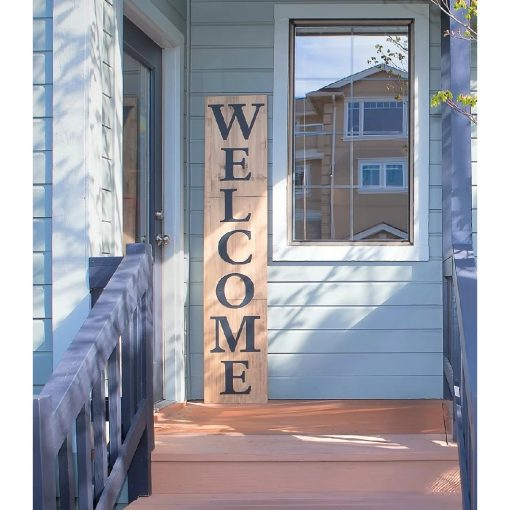 lambeth distressed entryway porch sign wood welcome oversized wall décor