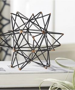 lapis geometric wire star black iron sculpture