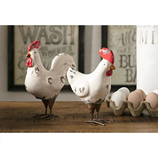 layla 2 piece white rooster figurine set