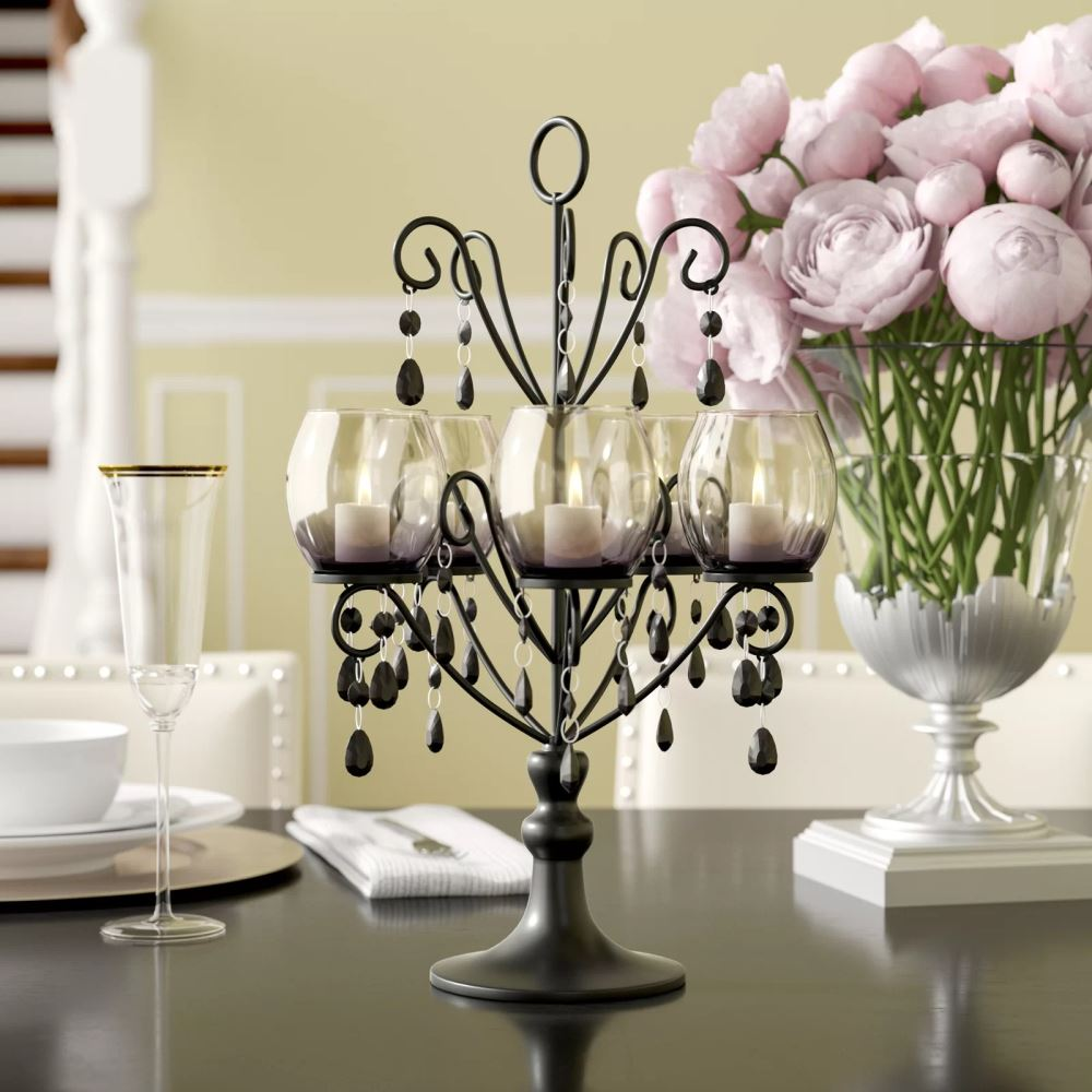 layla dark gray 5 pillars candelabra