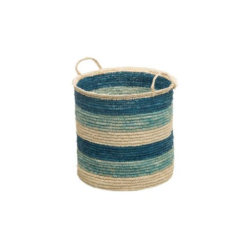lennox hand woven teal round sisal storage basket with handles