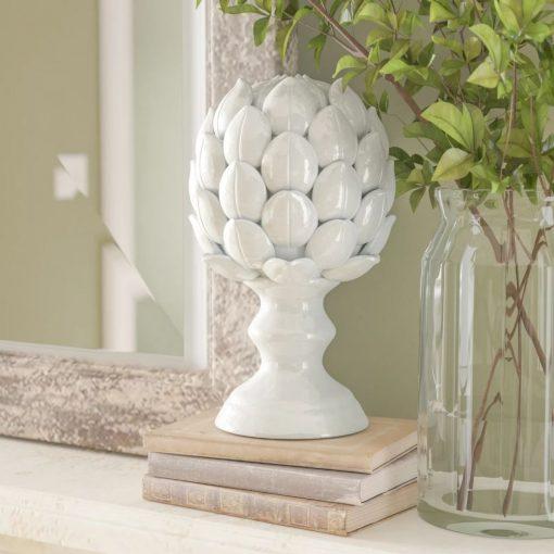 leopard white nature ceramic artichoke statuette
