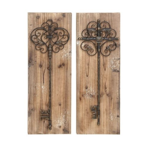 liane 2 piece key door natural tan wood wall décor set