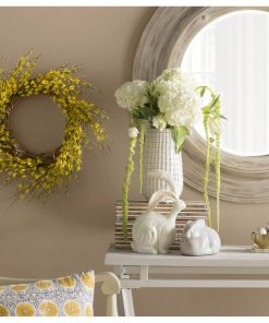 linden yellow faux forsythia wire and paper wreath