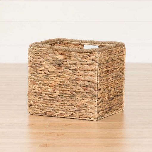 linen beige collapsible rattan basket