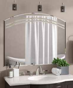 linen large frameless wall mirror