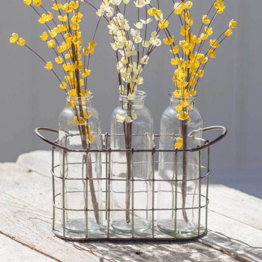 livia farmhouse metal caddy with three glass bottles