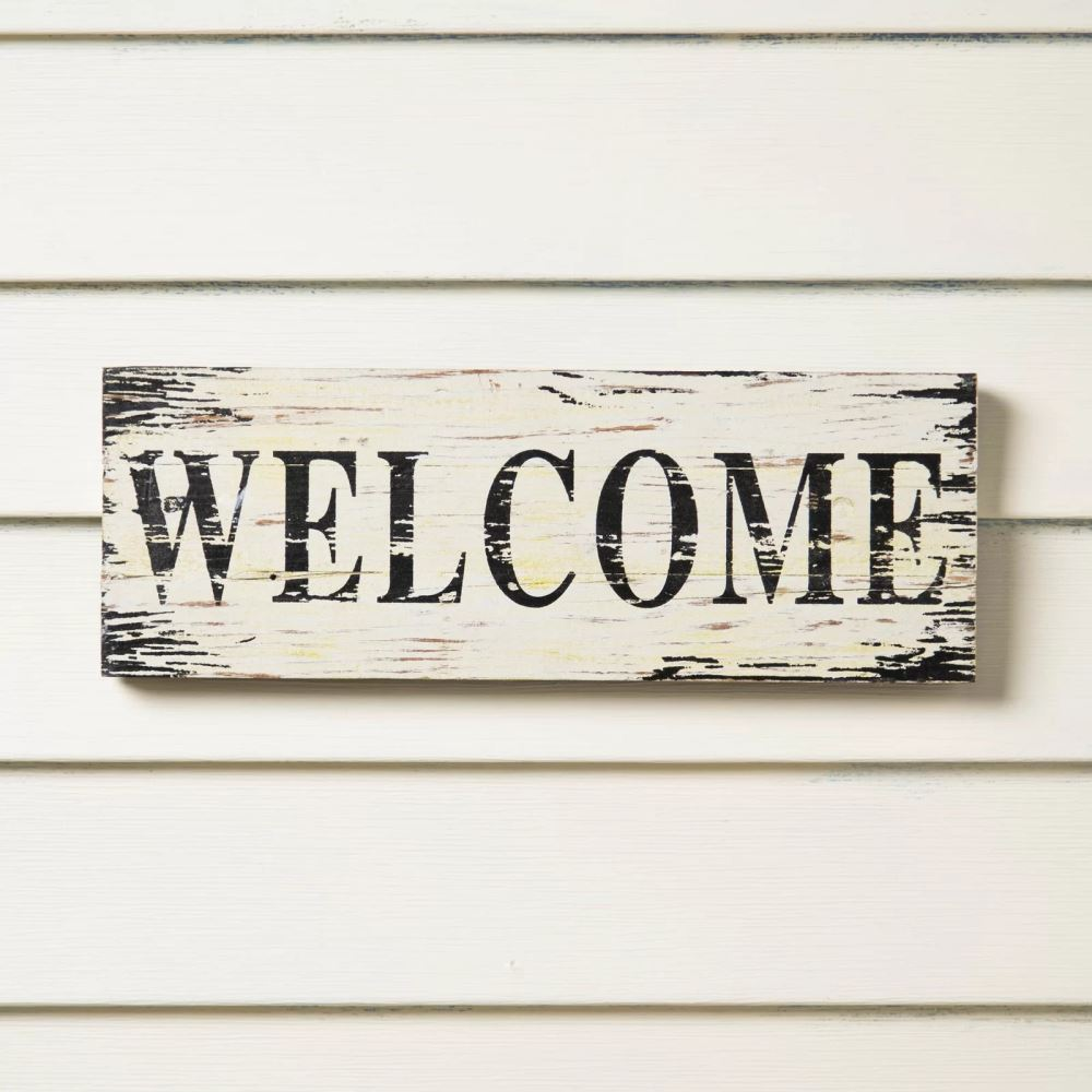 lizabeth screen printed welcome wood wall décor