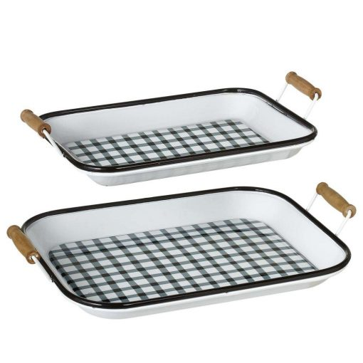 lola cute black white enamel gingham trays