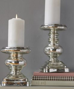 lucia silver 2 piece glass candlestick set
