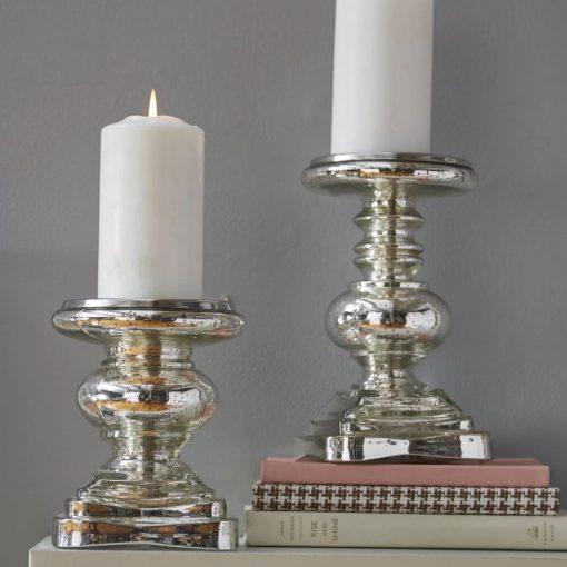 lucia silver 2 piece glass candlestick set