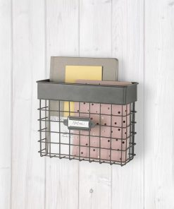 mackenzie vintage small mail bin with wall baskets and mail storage