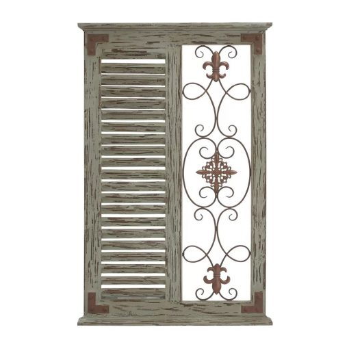 madeleine rustic window inspired silhouette with metal openwork green wall décor