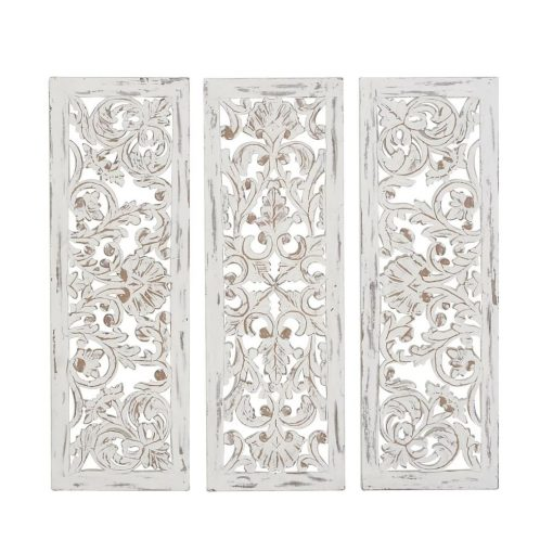 madigan distressed 3 piece carved ornate wall décor set