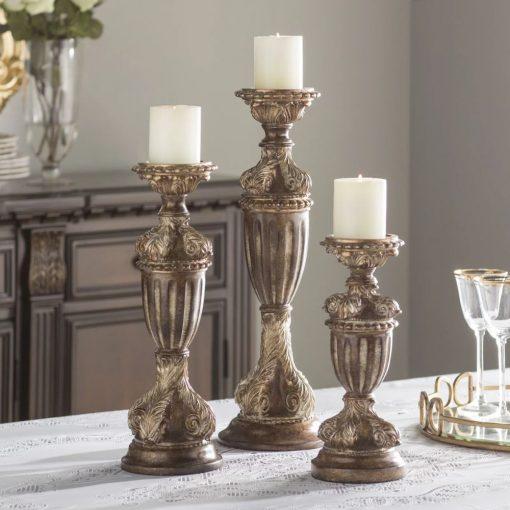 maisie regency bronze 3 piece resin villa candlestick set