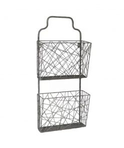 malibu 2 tiered metal wall hanging organizer