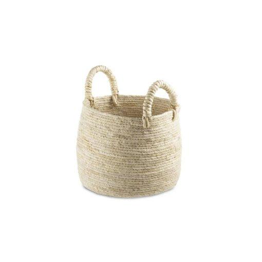 maran beige corn leaf wicker basket with 2 thick handles