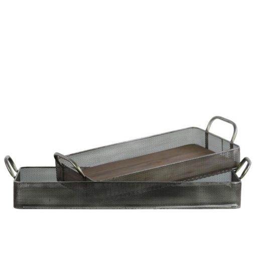 marie metal rectangular tray with wood surface and pierced metal sides set of