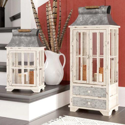 marina borghese beige candle 2 piece lantern set