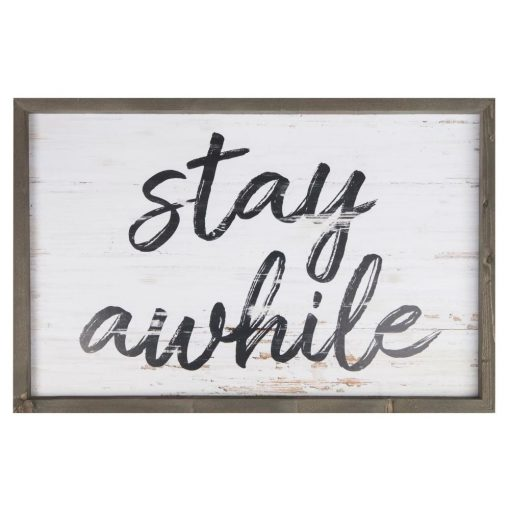 marina distressed stay awhile frame wooden wall décor