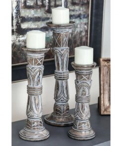 marrakech dark brown 3 piece mango wood candlestick set