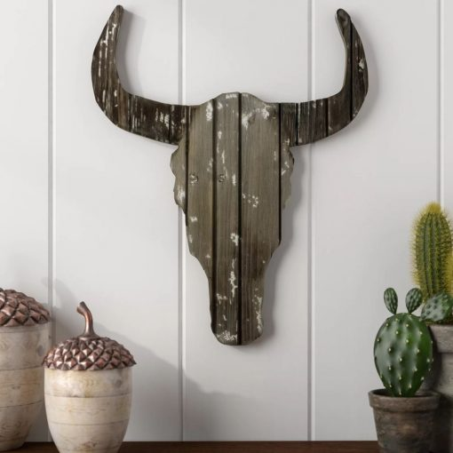 marrakech distressed wood wild stag head wall décor