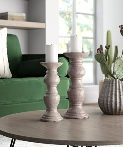 marrakech pillar 2 piece ceramic candlestick set