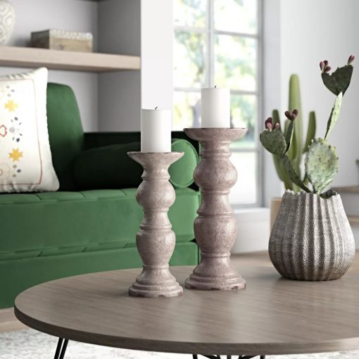 marrakech pillar 2 piece ceramic candlestick set