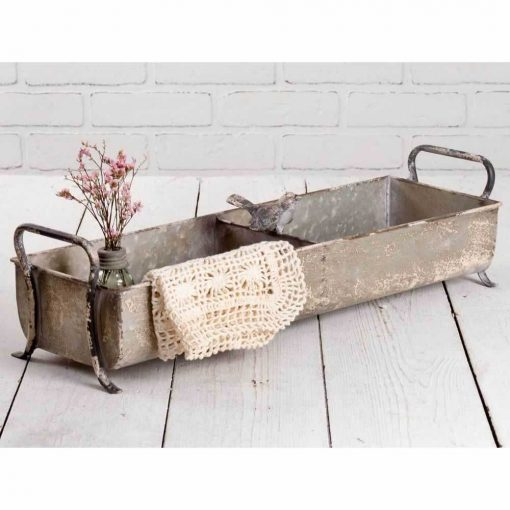 marrakech rustic divided tray with songbird