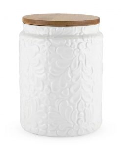 marrakech white textured ceramic with wood lid kitchen canister