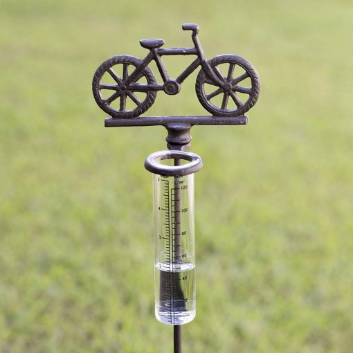 martinique rustic cast iron bicycle rain gauge garden stake