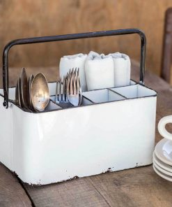 mason white cutlery caddy with black handle