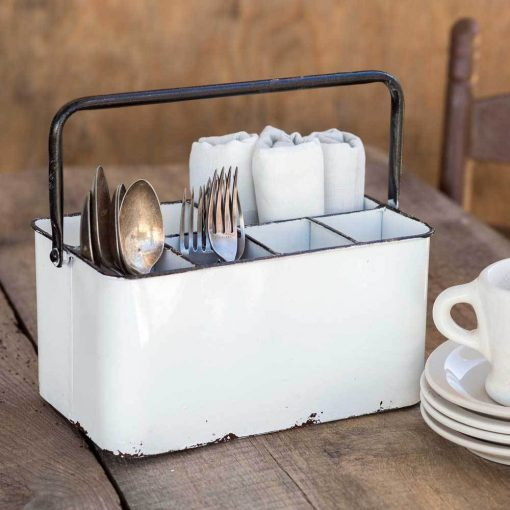 mason white cutlery caddy with black handle