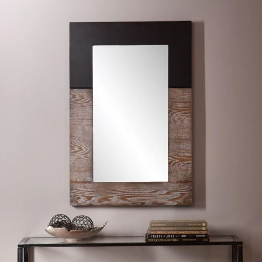 maui black and white two tone accent mirror